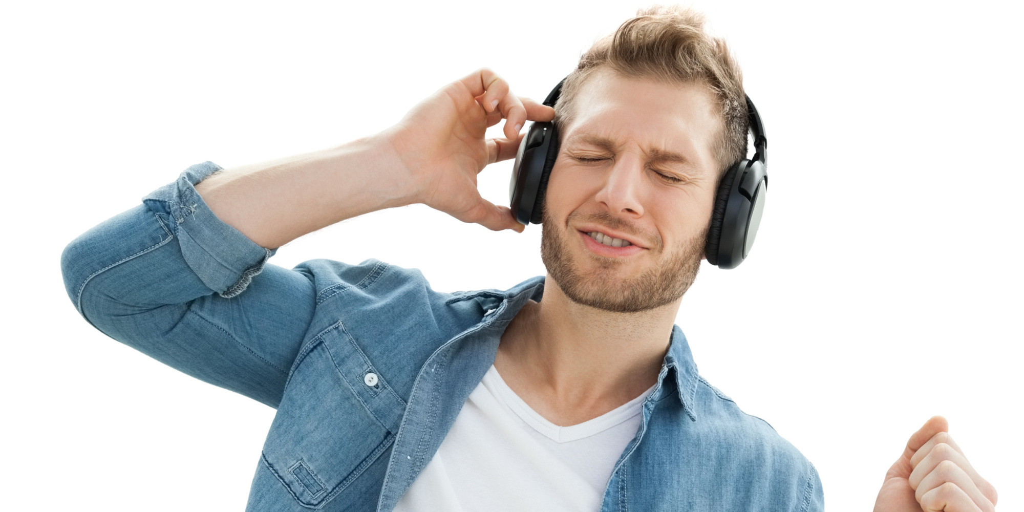Handsome of a young man enjoying music